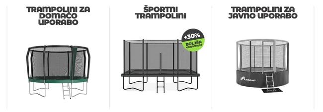 Oglejte si trampoline Akrobat, ki se ponašajo s trajno kakovostjo, izjemno izvedbo in nudijo maksimalno varnost. Pa še zabavni so!